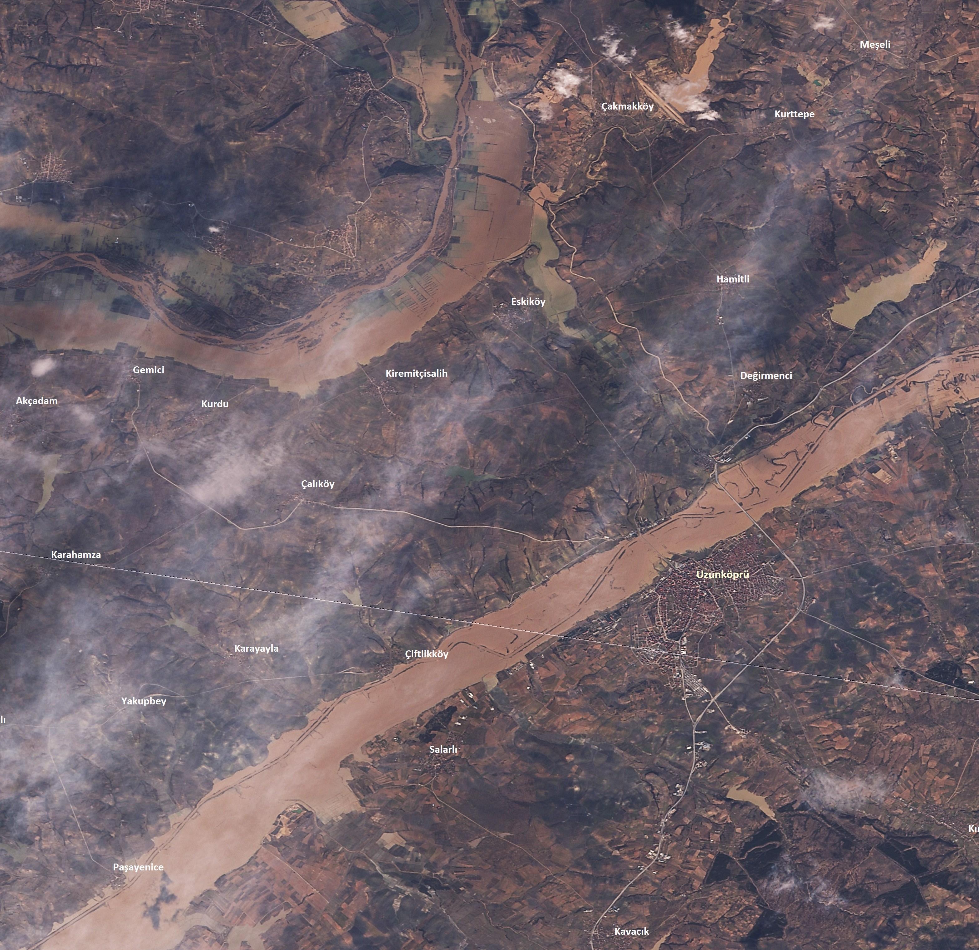 Trakya'da yaşanan selin etkileri RASAT Uydusu ile  görüntülendi 2 Şubat 2015