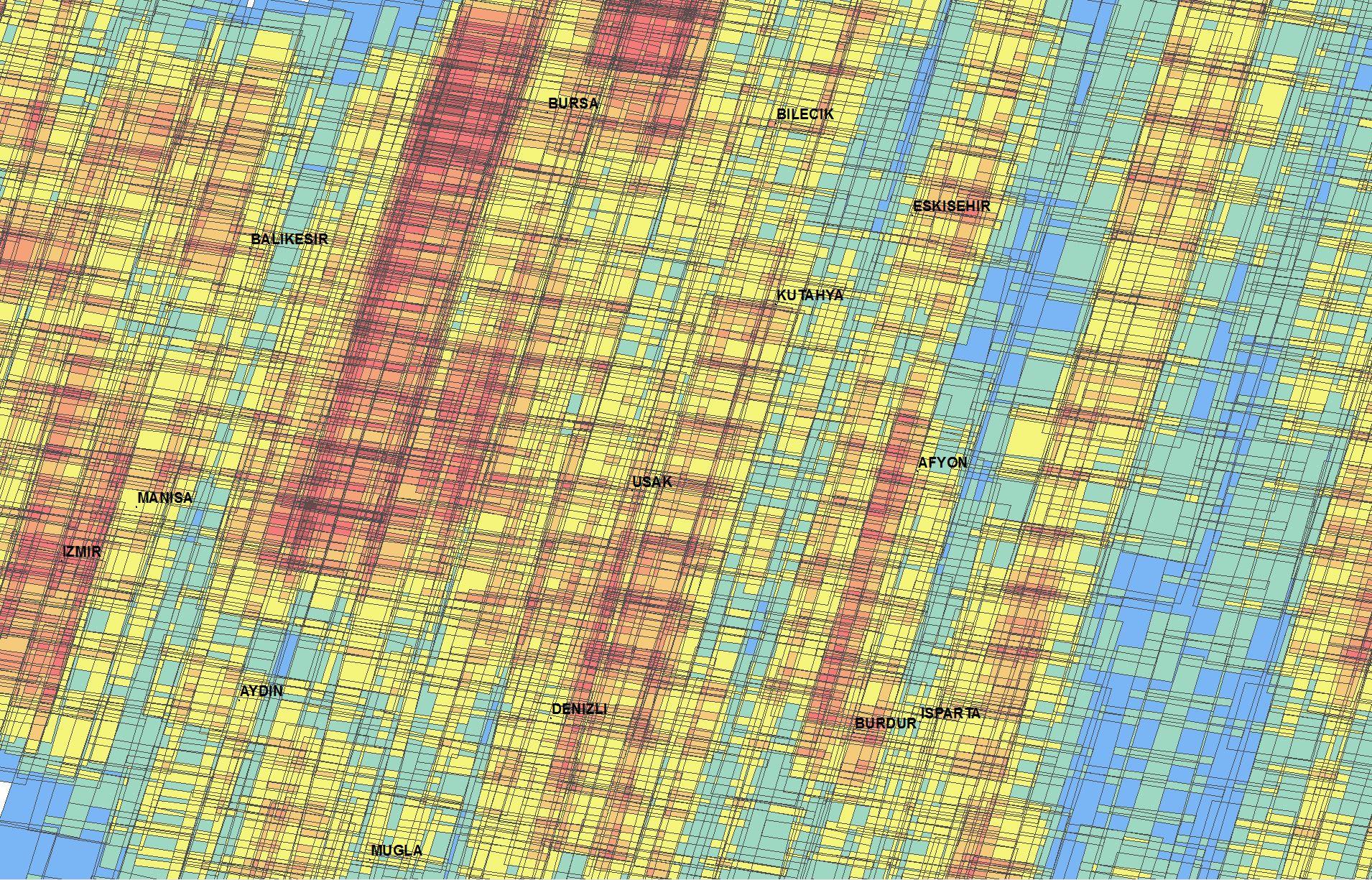 RASAT Görüntü Çekim Sıklığı Haritası
