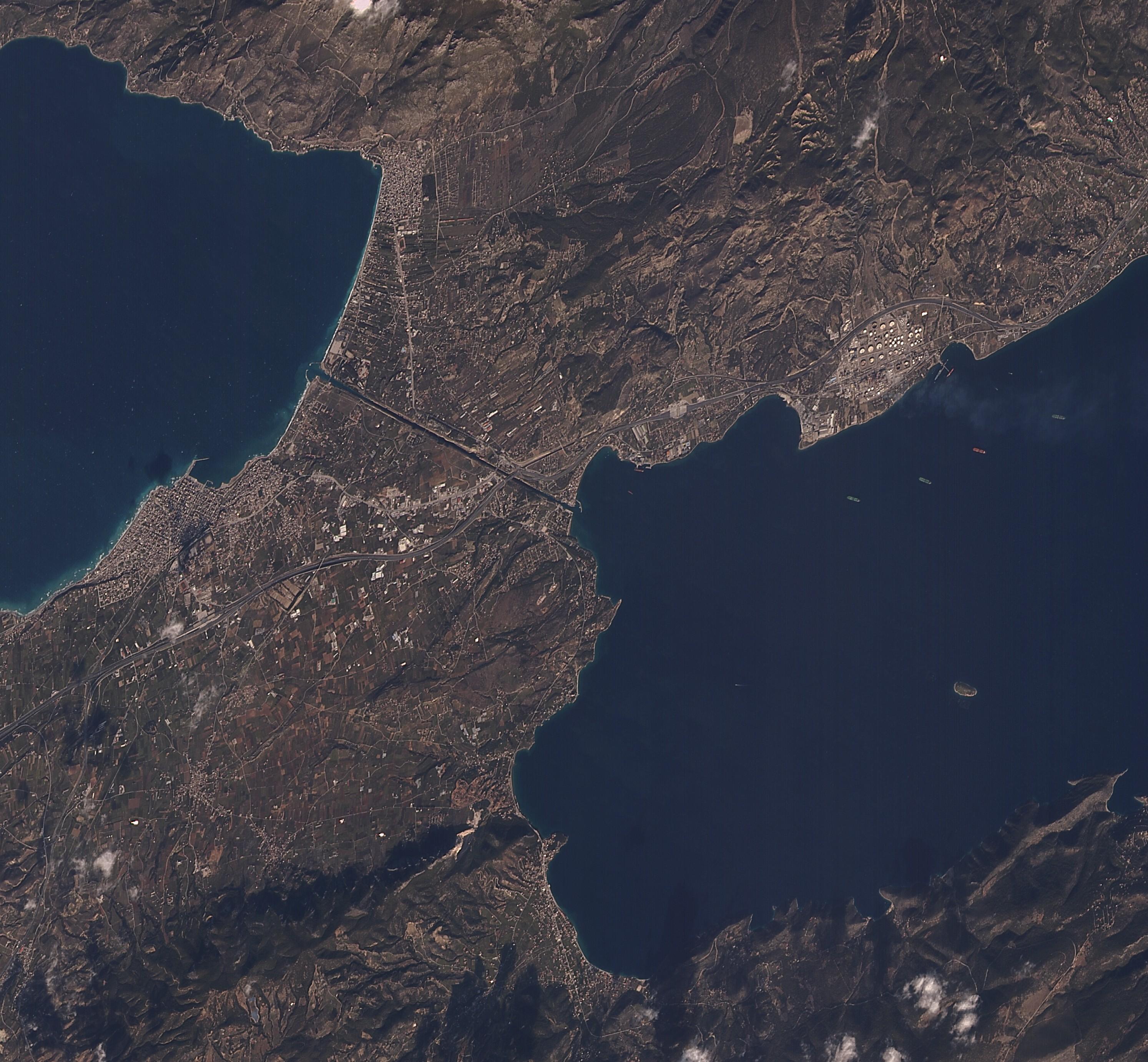 Korint Kanalı Yunanistan 2 Ocak 2018
